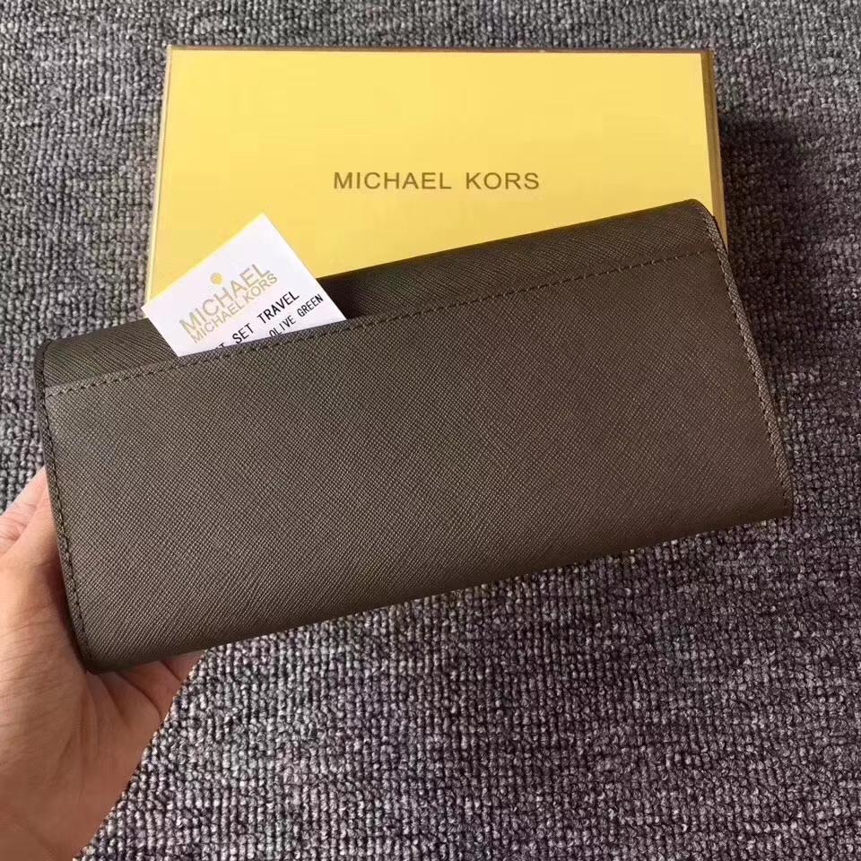 MK新款钱包 迈克高仕橄榄绿十字纹牛皮翻盖长钱夹女士手包19cm