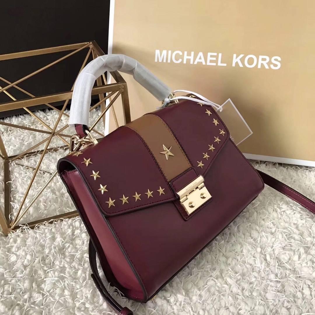 MK女包价格 迈克科尔斯酒红色平纹牛皮五角星铆钉手提包24cm