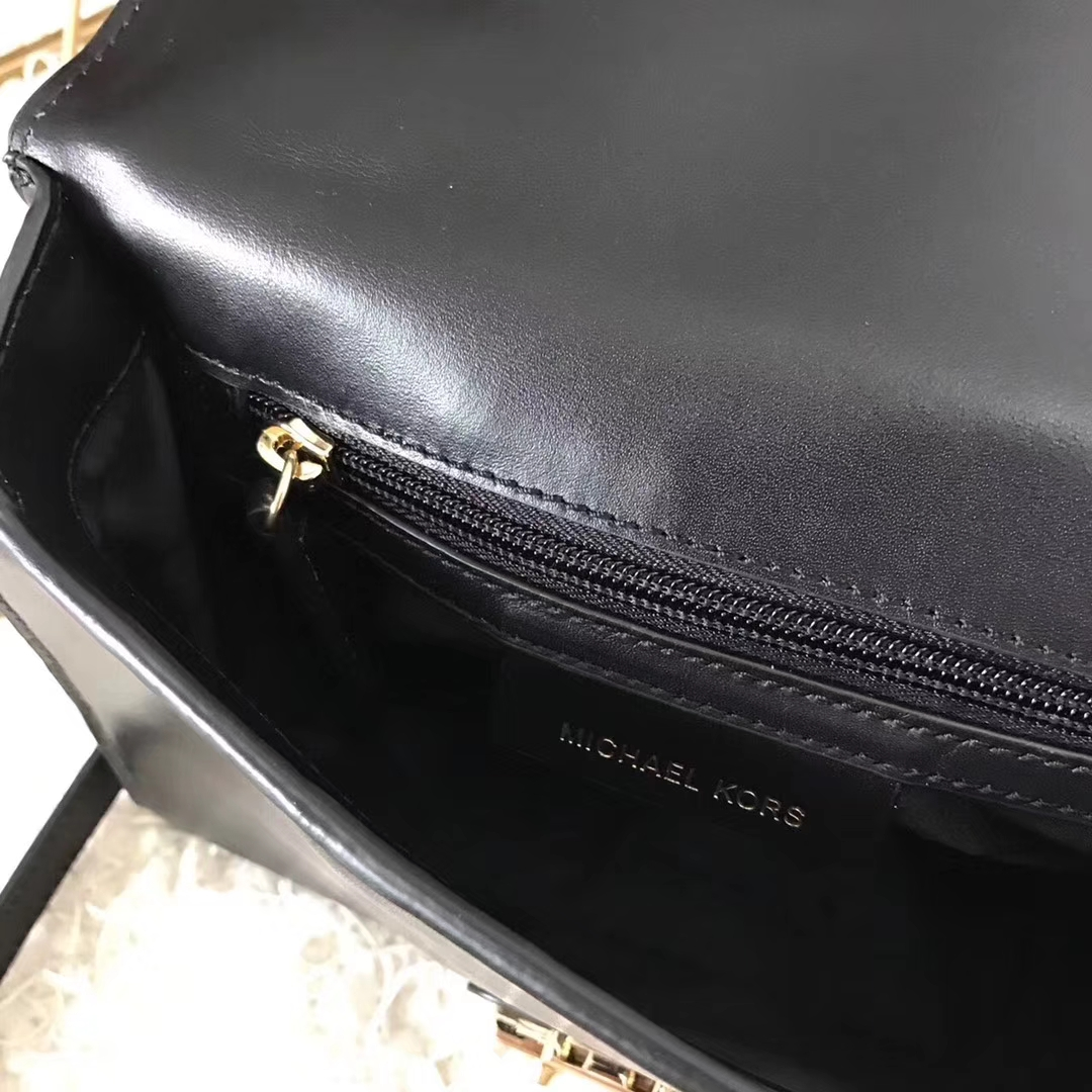 迈克高仕MK新款包包 黑色平纹牛皮五角星铆钉手提锁头包女包24cm