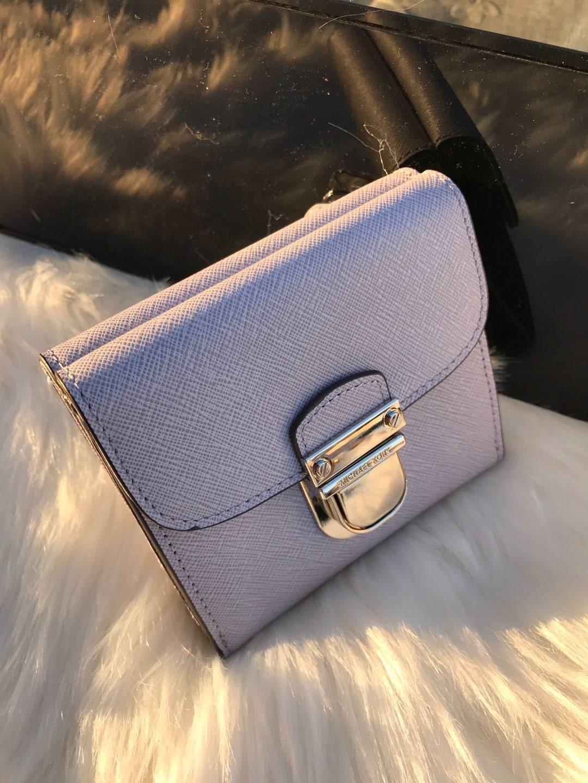 迈克高仕MK新款钱包 原单十字纹牛皮锁头钱夹卡包10cm  浅紫色