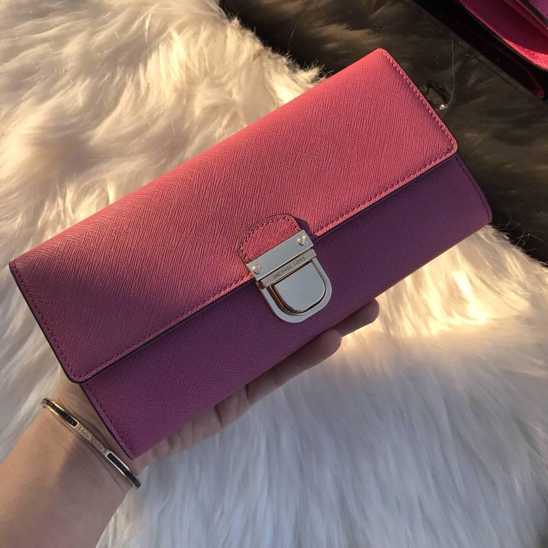 厂家直销 MK迈克高仕郁金香色十字纹牛皮长款锁头钱包手包20cm