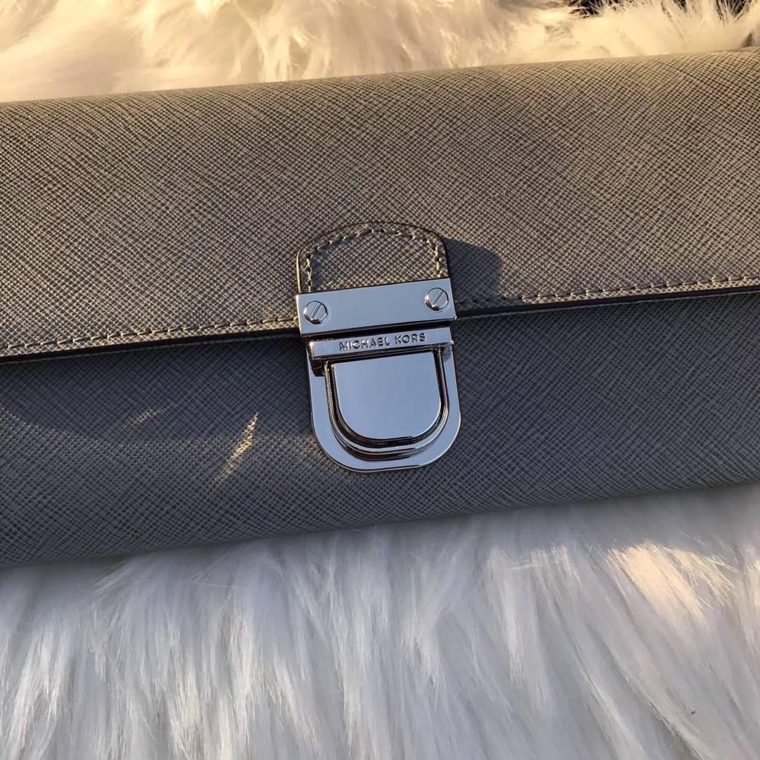 迈克高仕MK新款钱夹 原单十字纹牛皮MK锁头钱包卡包20cm 灰色