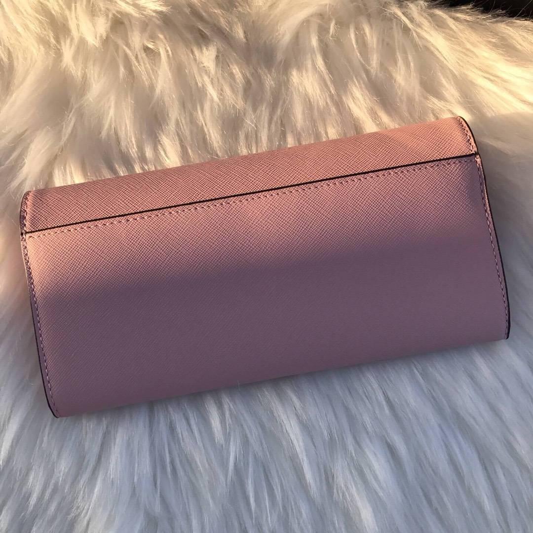 MK钱包批发 迈克科尔斯粉色原单十字纹牛皮MK长款锁头钱夹20cm