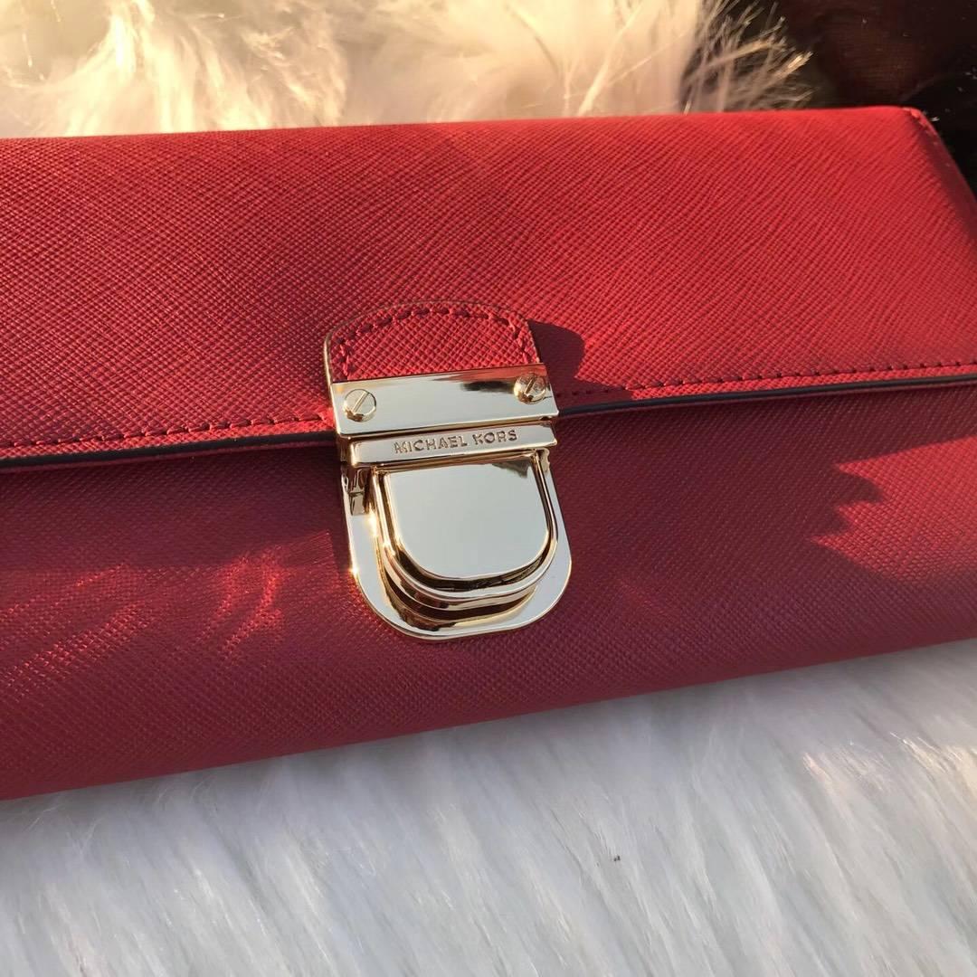 迈克科尔斯官网 MK原单十字纹牛皮长款锁头钱包钱夹20cm 红色