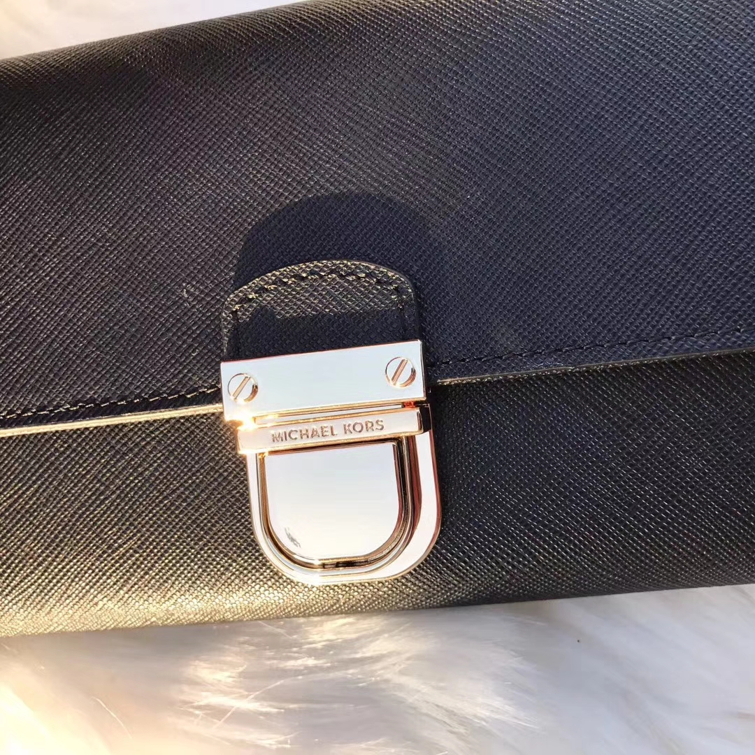 MK钱夹批发 迈克科尔斯黑色十字纹牛皮长款钱包卡包20cm