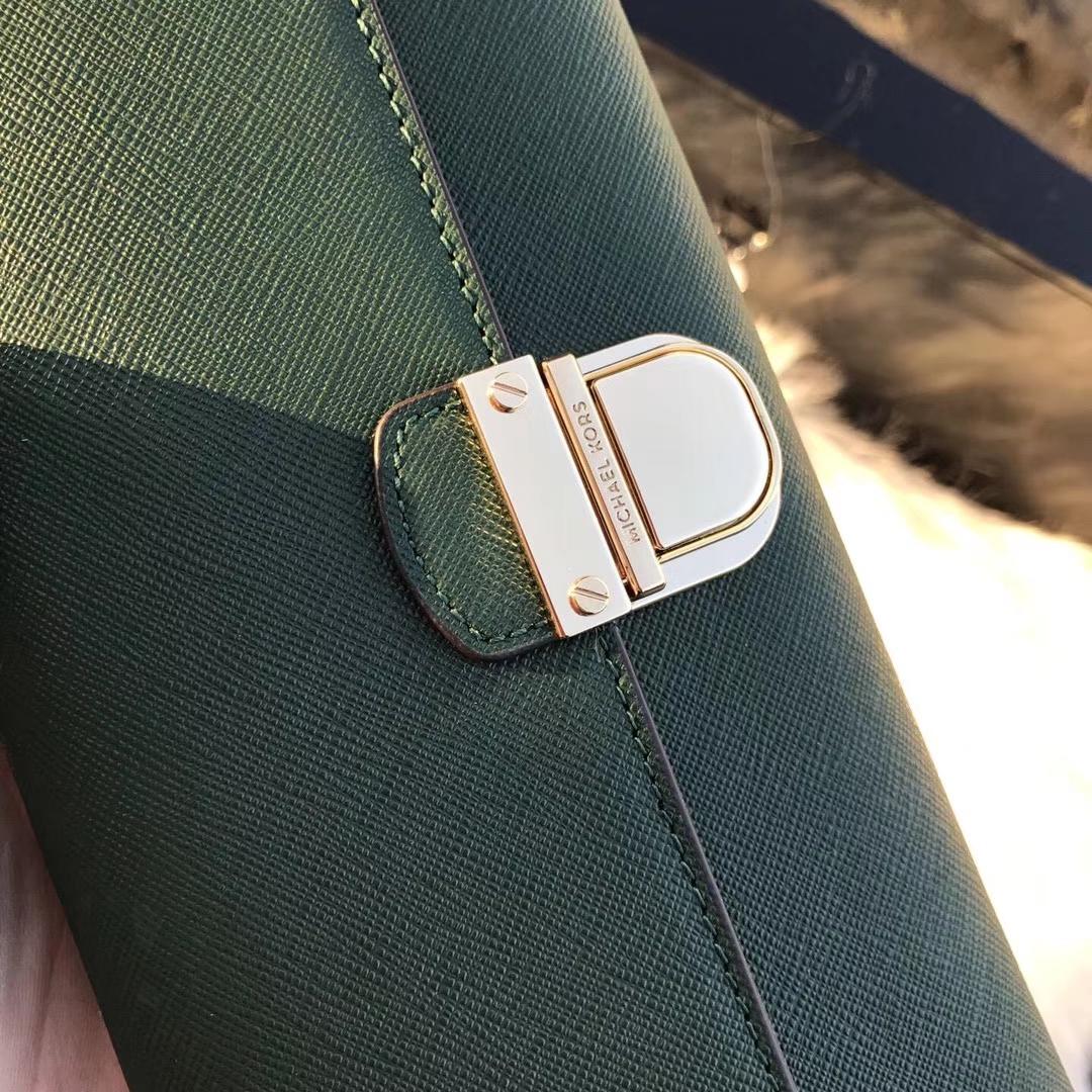 MK钱包价格 迈克科尔斯绿色原单十字纹牛皮长款锁头钱夹手包20cm
