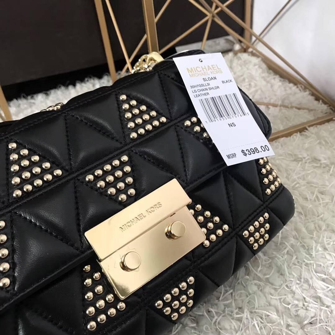 厂家直销 MK迈克高仕黑色三角羊皮刺绣镶钉链条单肩女包 金色五金