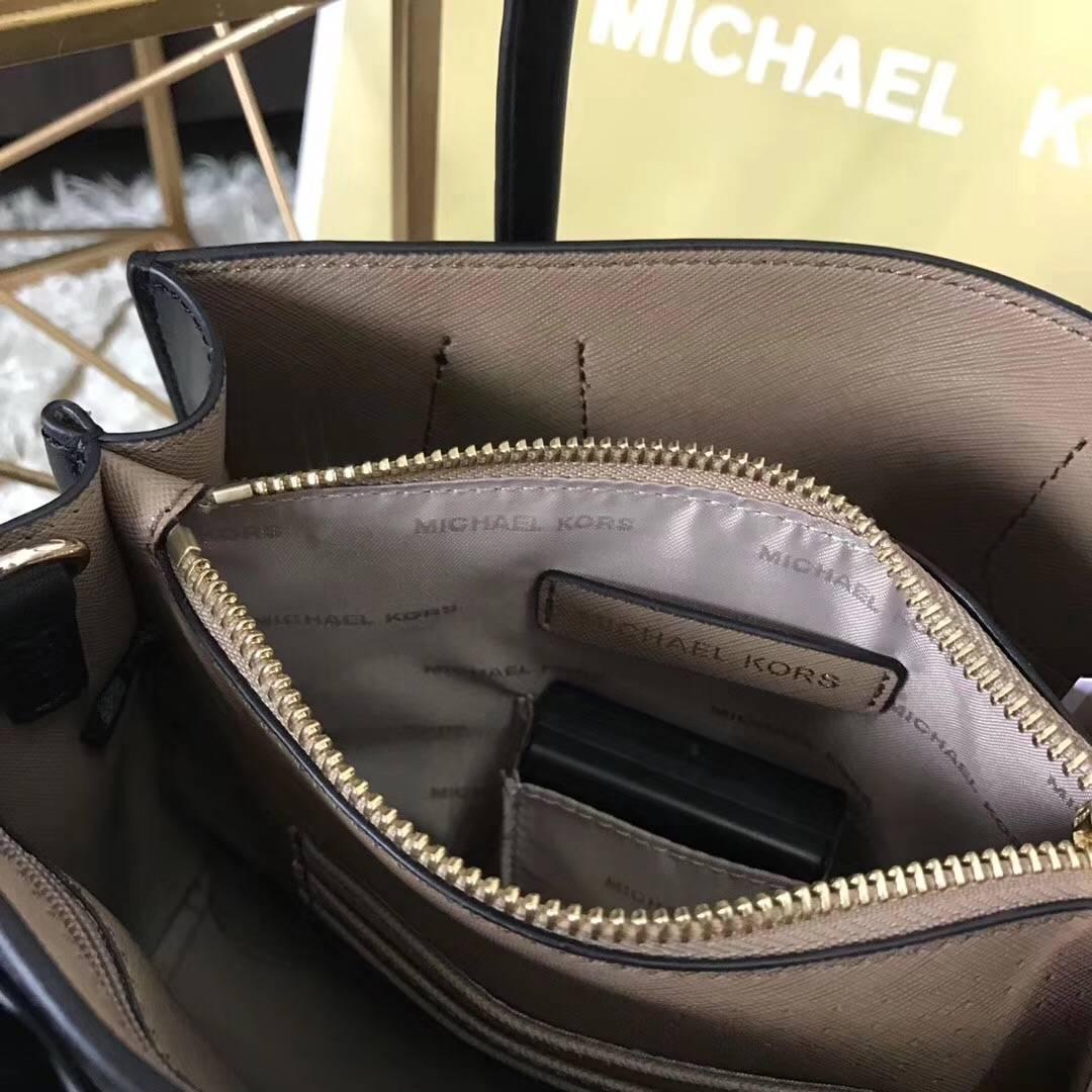 迈克高仕新款女包 MK Mercer电子荧光装饰带牛皮手提单肩女包黑色22cm