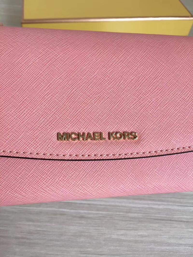 MK钱包价格 迈克高仕原单十字纹牛皮三折长款信封钱夹手包20cm 虾粉色