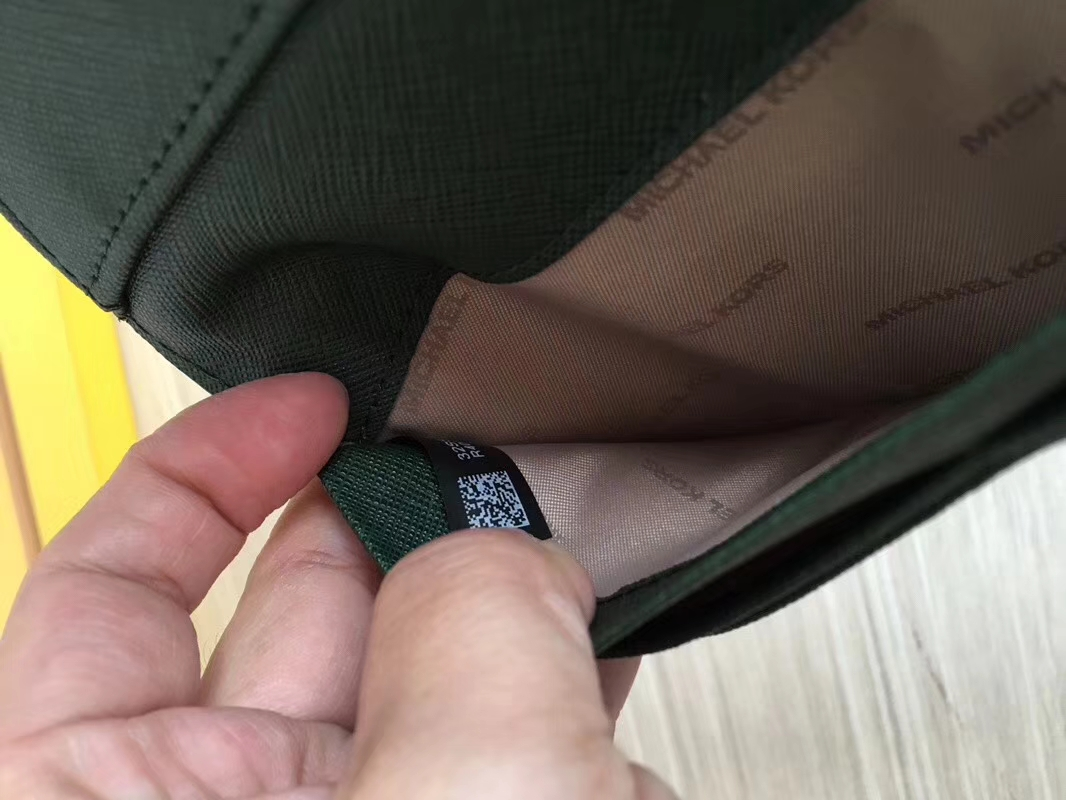 MK钱包批发 迈克科尔斯绿色十字纹牛皮原单三折长款钱夹手包20CM