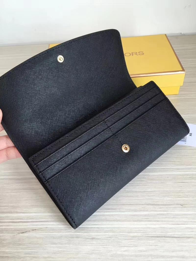 迈克高仕钱包价格 MK黑色原单十字纹牛皮三折长款钱夹手包20cm