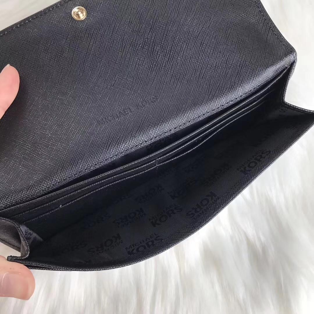 迈克科尔斯钱包 MK黑色原单十字纹牛皮对折长款钱夹手包20cm