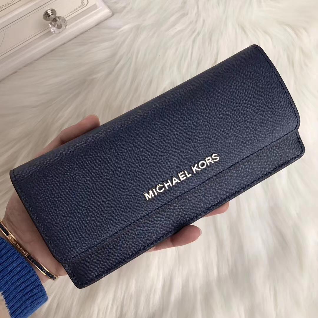 MK钱包新款 迈克科尔斯原单十字纹牛皮对折钱夹手包20cm 深蓝色