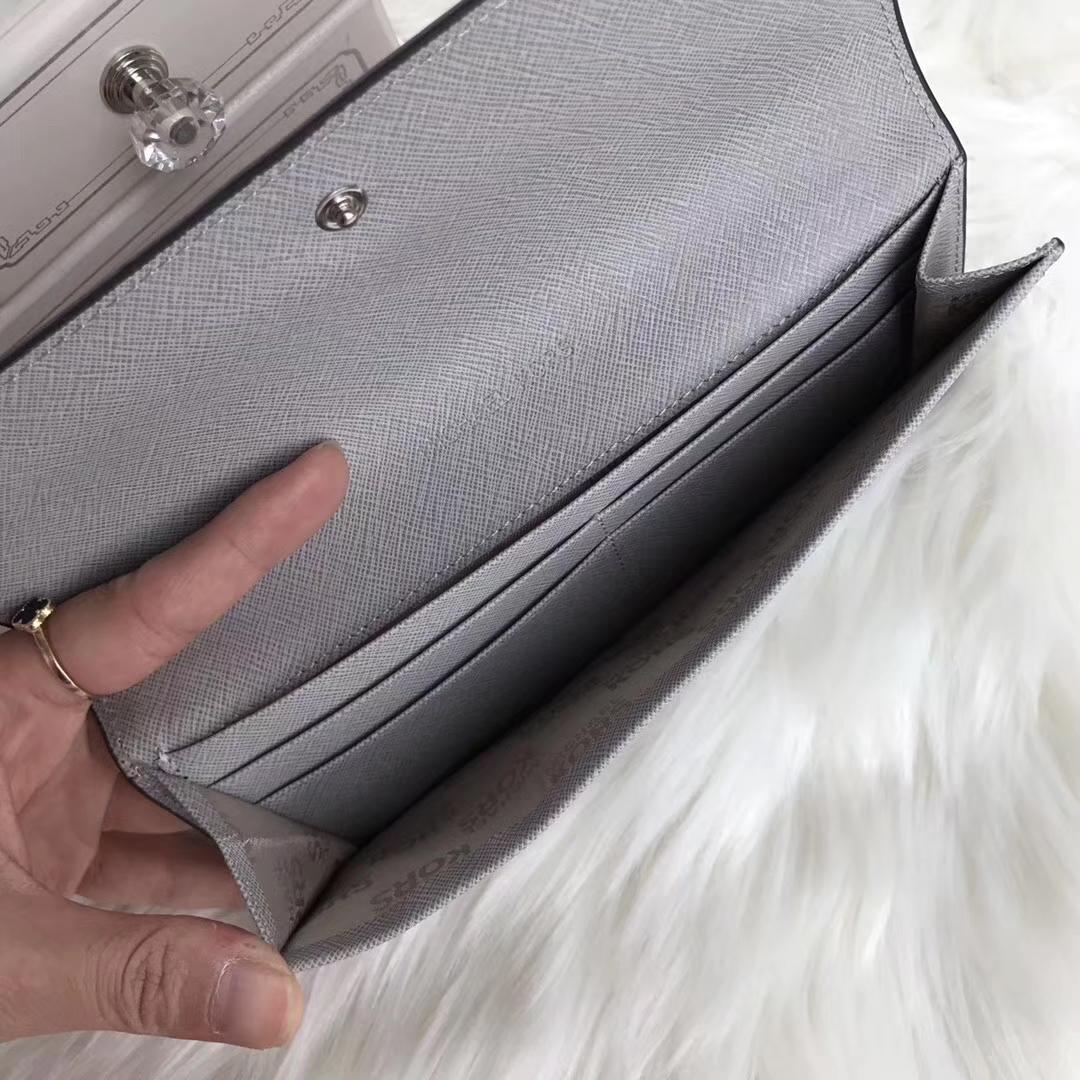MK新款钱包 迈克高仕原单十字纹牛皮长款女钱夹20cm 灰色
