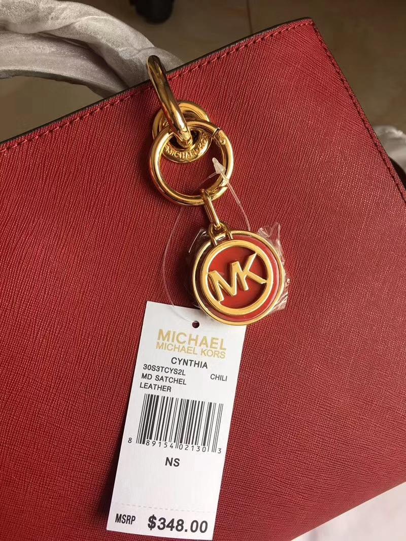 MK经典女包 迈克科尔斯原单十字纹牛皮MK玳瑁包戴妃包中号32cm 樱桃红