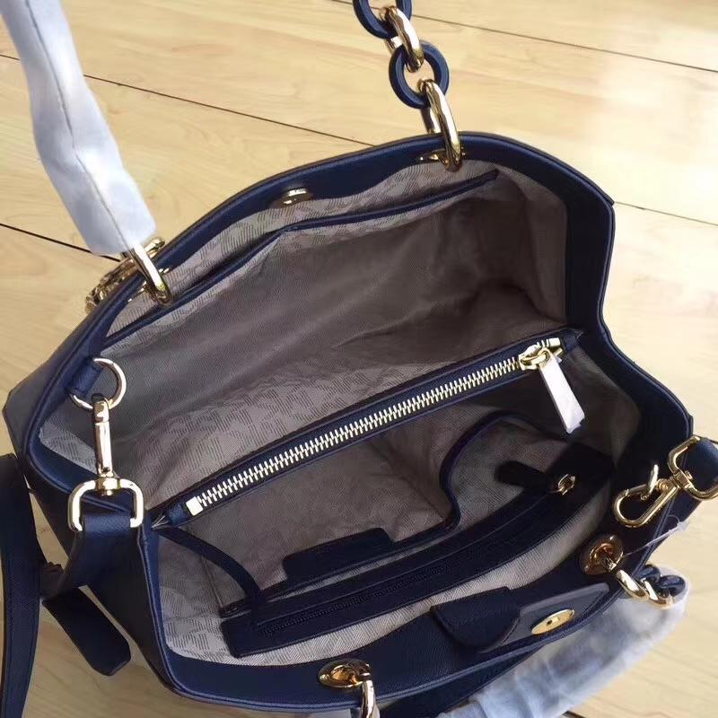 迈克高仕女包 MK原单十字纹牛皮中号戴妃包玳瑁包包32cm 深蓝色