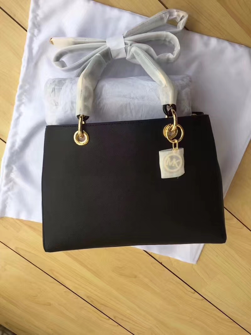 迈克科尔斯包包 MK原单十字纹牛皮中号玳瑁包单肩女包32cm 黑色