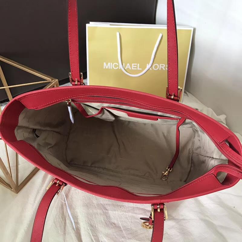 MK包包官网 迈克科尔斯原单十字纹牛皮MK包包单肩购物包 红色