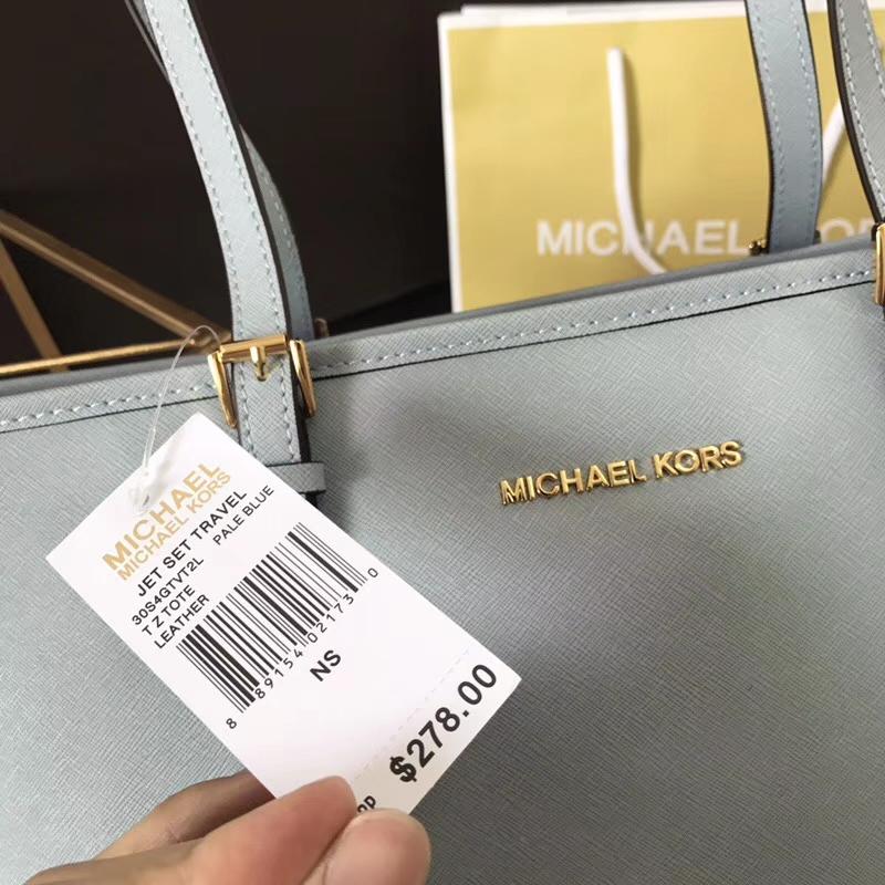MK迈克科尔斯女包 天蓝色原单十字纹牛皮MK单肩女包拉链购物袋