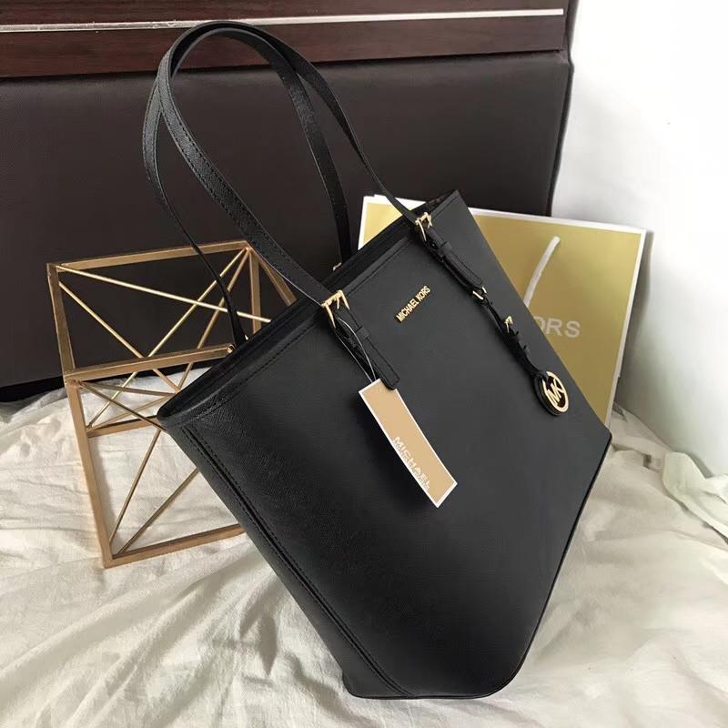 MK包包价格 迈克科尔斯原单十字纹牛皮拉链购物包实用妈咪包 黑色