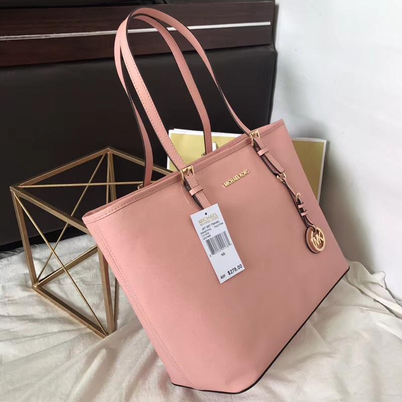 迈克科尔斯官网 MK粉色原单十字纹牛皮拉链购物袋单肩女包32cm