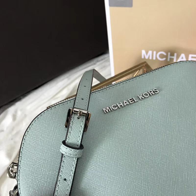 迈克科尔斯女包 MK苹果绿色十字纹牛皮链条斜挎贝壳包小号23cm