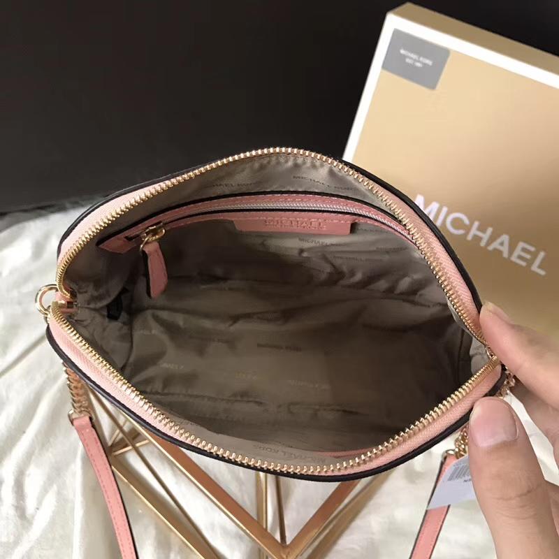 MK包包批发 迈克高仕虾粉色原单十字纹牛皮小号贝壳包链条斜挎包23cm