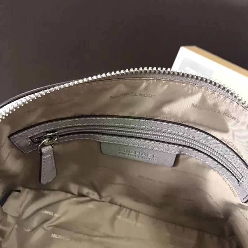 MK包包价格 迈克科尔斯灰色十字纹牛皮小号贝壳包链条单肩包23CM
