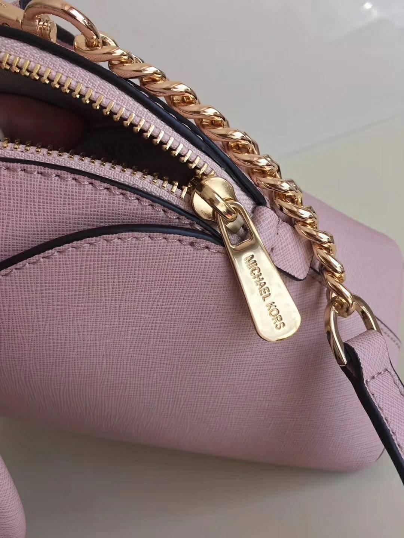 MK新款女包 迈克高仕浅粉色原单十字纹牛皮手提贝壳包单肩包25cm