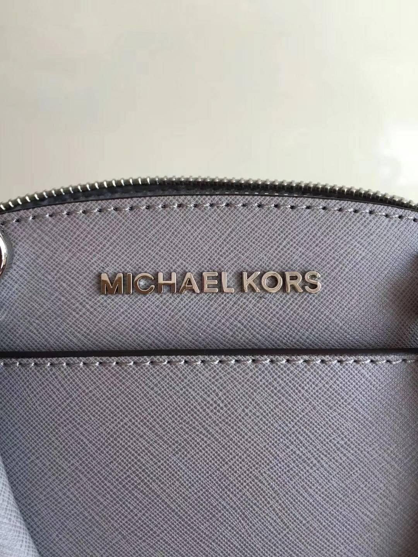 MK包包官网 迈克高仕原单十字纹牛皮新款贝壳包女士手提包25cm 灰色