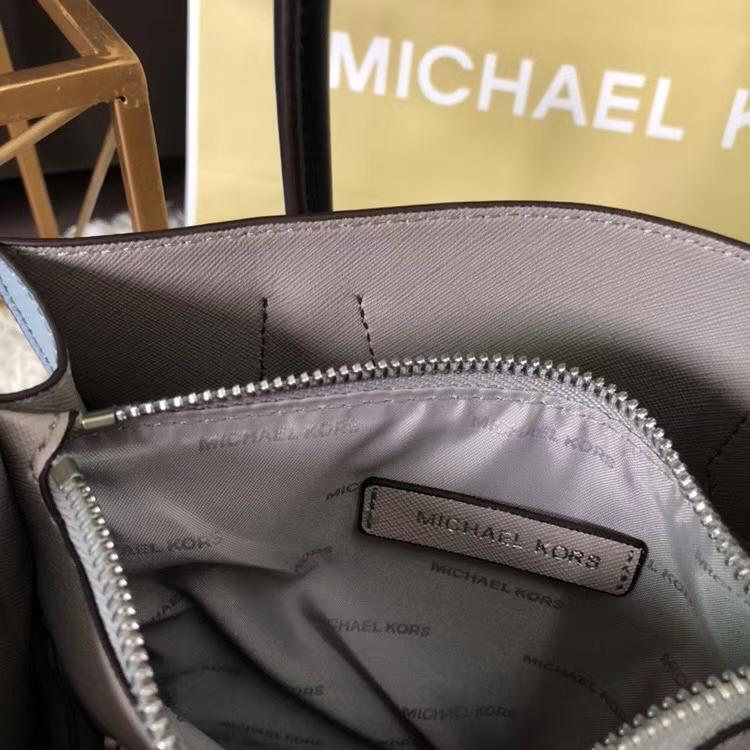 迈克科尔斯包包 MK原单荔枝纹牛皮杨幂同款Mercer手提单肩斜挎包 白色配浅蓝