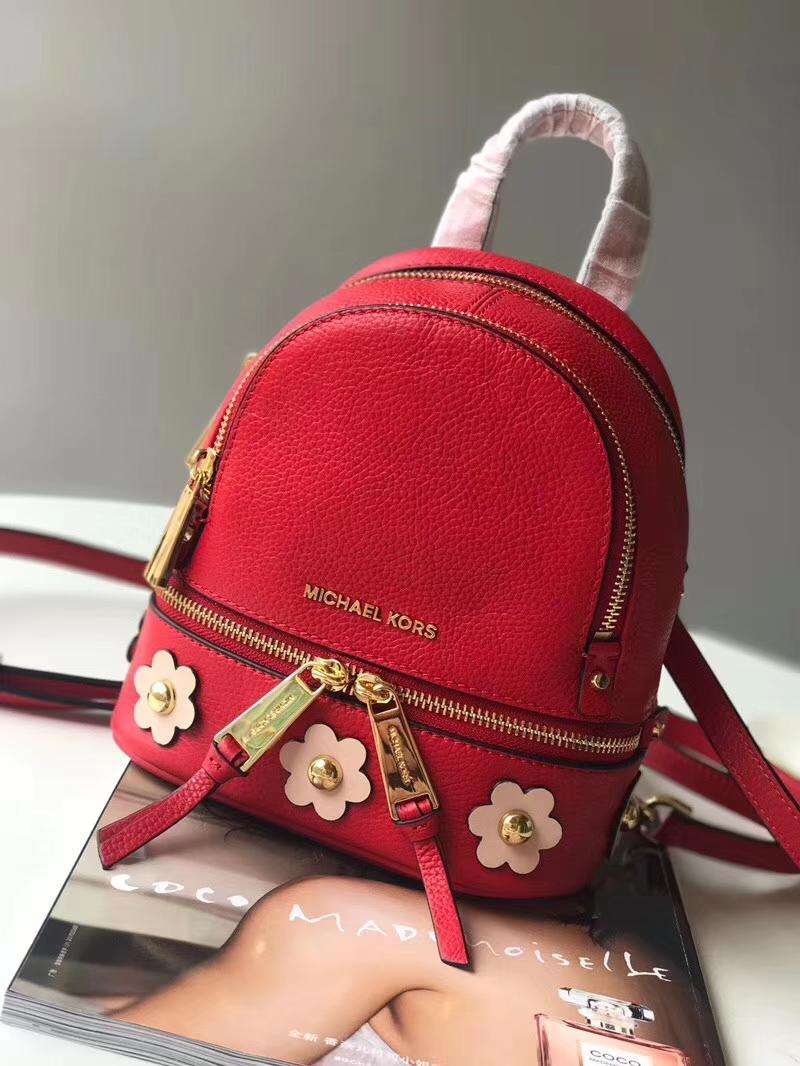 MK新款女包 迈克科尔斯MK专柜同款最新牛皮花朵小书包双肩包19CM 红色