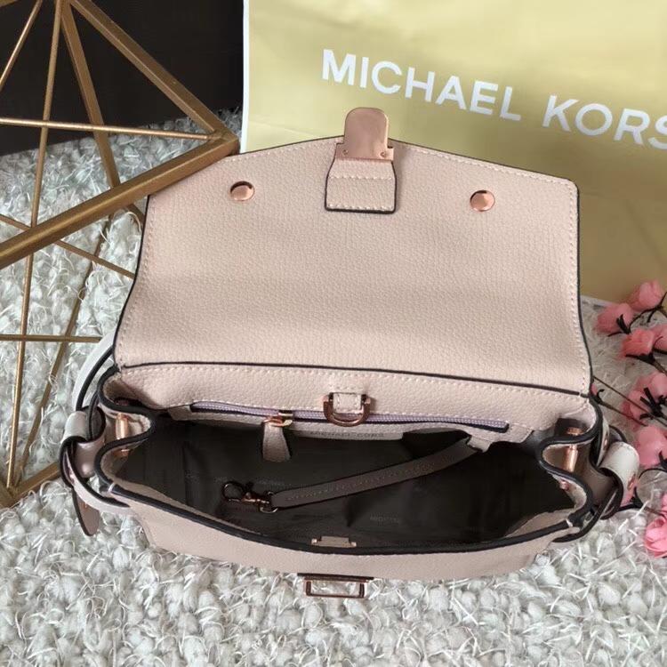 迈克高仕包包 MK裸粉色头层荔枝纹牛皮花朵剑桥包手提女包25cm