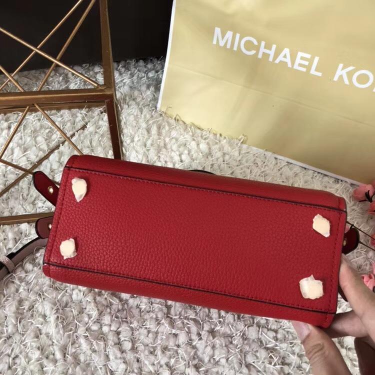 MK包包官网 迈克高仕18年最新款头层荔枝纹牛皮女包剑桥包25CM 红色