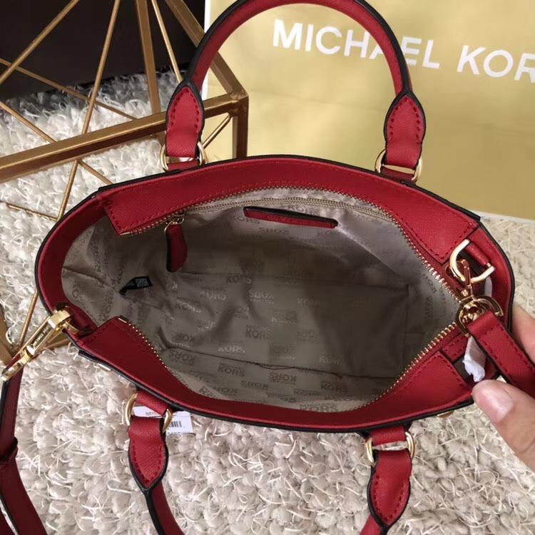 MK包包官网 迈克高仕十字纹牛皮铆钉款手提女包单肩包21cm 红色