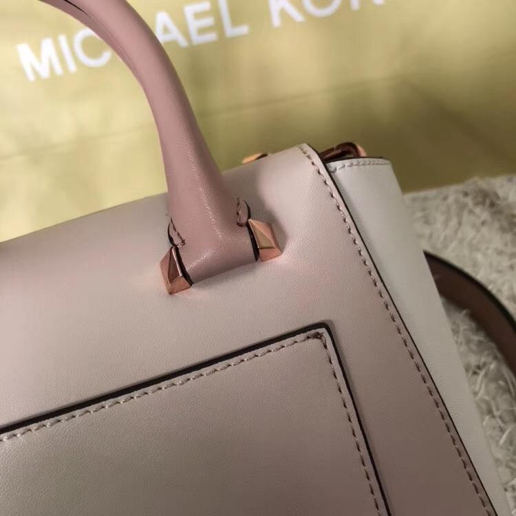 MK新款女包 迈克科尔斯粉拼白原单纳帕牛皮耳朵包手提女包小号21CM